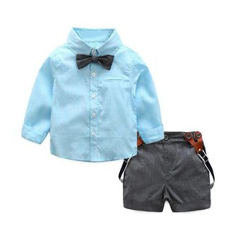 New Gentleman Solid Boys Clothing Suit For Newborn Baby Bow Tie Shirt + Suspender Trousers Pants