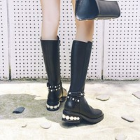Buy JY Shoes Genuine Leather Embellished Tall Boots | YesStyle