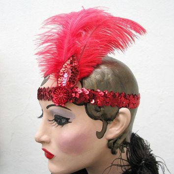 Red Show Girl Flapper Feather Headband any color YOU by satanica