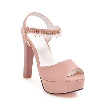 Pearls Rhinestone High Heels Platform Sandals Summer Shoes 9661