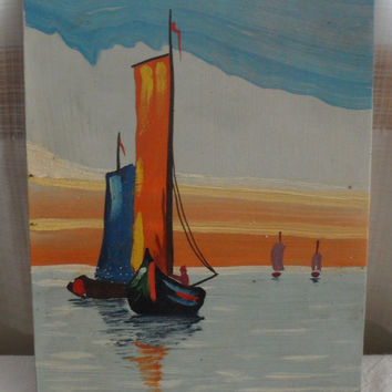 Vintage Dutch Painting/Acrylic Seascape/Unsigned/No Frame/No Hanger/Unknown Artist/Small Seascape Painting/Vintage Wall Decor Painting
