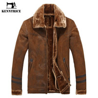 Winter Men's Fur lined Coat Leather Long With Fur Lined Leather Jacket Coat Fleece Coat Thicken Warm