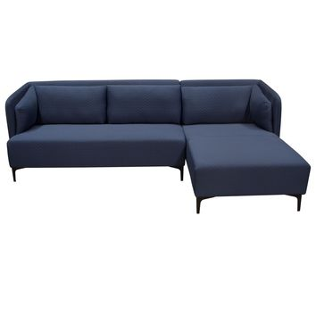 Dylan RF 2PC Sectional in Navy Blue Diamond Quilted Fabric