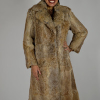 Vintage Rabbit Coat, 70's Fur Coat, Long Coat, Boho Rabbit Coat, Hippie Coat, Rabbit Fur Coat, Size Small Medium