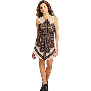 Gianni Bini Nina Lace-Insert Dress - Black/Nude