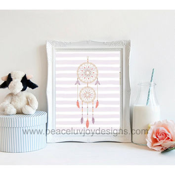 Girl's Nursery, Dream Catcher, 8x10, instant download, peach, mint and purple, tribal art