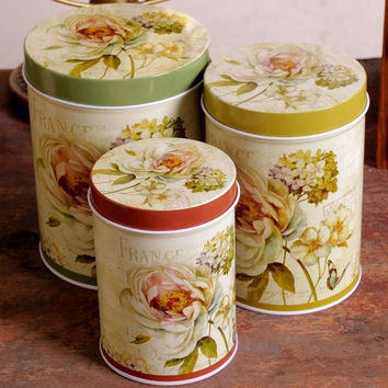 3 Pcs Retro Vintage White Rose Flower Green Kitchen Coffee Tea Sugar Candy Biscuit Container Jar Tin Metal Zakka