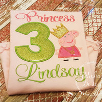 Princess Peppa Pig Birthday Custom Tee Shirt - Customizable -  Infant to Youth
