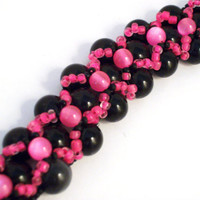 Chunky Choker Necklace Hot Pink and Black by colorsoulartistry