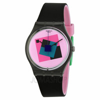 Swatch Crazy Square Pink Dial Black Rubber Unisex Watch GA109