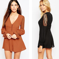 Long Sleeve Women's Fashion Hot Sale Lace Patchwork Chiffon Romper [6315476993]