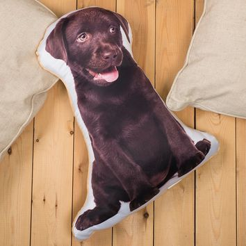 Chocolate Labrador-Shaped Animal Cushion | GettingPersonal.co.uk