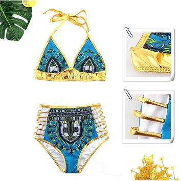 African Print  Bikini Set Sexy Geometric Swimwear Hollow out Swimsuit Gold High Waist Swimming Suit Two-Pieces Bath Suits 2863