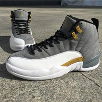 Air Jordan Retro 12 Grey And Gold Men Basketball Shoes 12s Gray Gold White Sneakers High Quality With Shoes Box