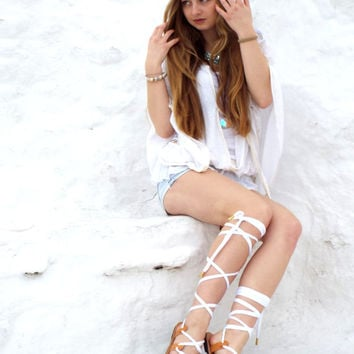"""White lace up Leather Sandals, Greek Sandals, """"""""Nymph"""" anciet Sandals, wedding shoes, barefoot sandals, Valentine's gift for women"""