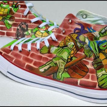 VONR3I Painted TMNT Shoes, Custom Painted Mens Converse, Teenage Mutant Ninja Turtle Converse