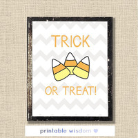 Halloween Printable, custom art digital print wall decor poster, candy corn chevron party decoration