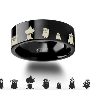 Despicable Me Minions Black Tungsten Engraved Ring - 4mm - 8mm
