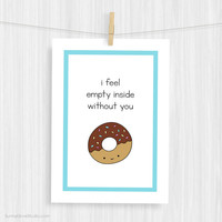 Funny Art Print Cute Donut Love Illustration Wall Decor Fun Food Pun Handmade Christmas Gifts Gift Ideas For Girlfriend Boyfriend Her Him