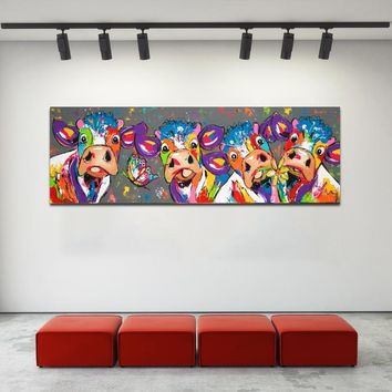 SELFLESSLY Big Size Canvas Painting Colorful Four Cows Wall Art Poster Print Decorative Animal Pictures For Living Room Unframed