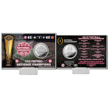 Alabama 2015 College Football National Champions Silver Coin Card