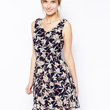 Jasmine Skater Dress In Large Floral