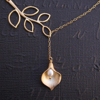 Calla Lily Necklace Lariat Necklace Gold Fill by DanglingJewelry