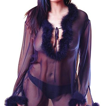 Sleep Shirt - Black Sheer Chiffon w/Marabou Feather Trim (Small-Medium)