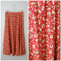 Vintage 1990's Express Maxi Midi Skirt Red with Floral Pattern Button-Front Size Medium Flowy Bohemian Hippie Flower Print