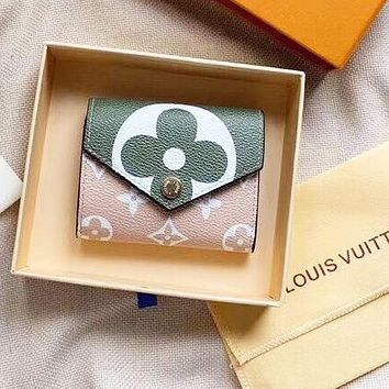 LV Louis Vuitton High Quality Newest Fashion Leather Women Buckle Wallet Purse