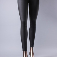 Look of Leather Skinny Jeans (Glossy Black)