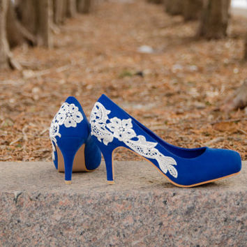 Wedding Shoes Blue Heels Lace Low
