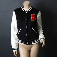 "Women Black Varsity Baseball Slim Fit Uniform Letterman ""A"" Jacket Size L"