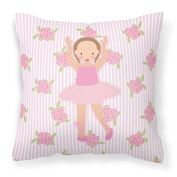 Ballerina Brown Hair Ponytails Fabric Decorative Pillow BB5189PW1818