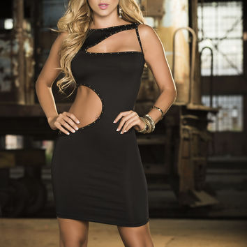 Black Provocative Cutout Dress