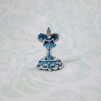 Dollhouse Miniature Blue & Silver Fairy Figurine