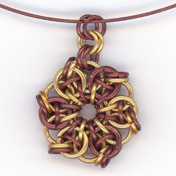 Brown Chainmaille Pendant and Cable Necklace Celtic Star by Lehane