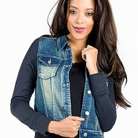 14CJ001-10-4 Washed Denim Jacket Apparel Jackets & Wraps NAVY Bare Feet Shoes