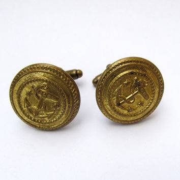 Vintage Brass Button Cuff Links - Nautical Anchors - Men's Jewelry