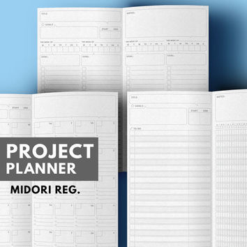 graphic regarding Midori Traveler's Notebook Printable Inserts referred to as Job Planner Midori include Printable, Objective Planner Midori Increase, Every month Planner Midori Refill, Midori Vacationers laptop computer add