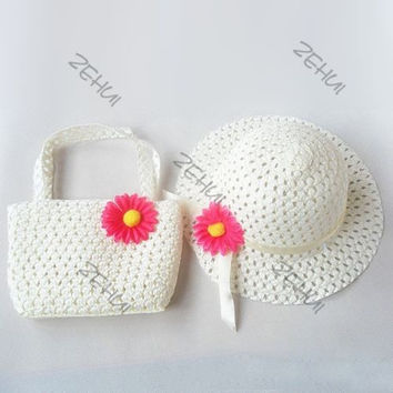 Baby Beach Sun Hats Bags Girls Kids Flower Straw Hat Summer Tote Handbag Bag Suit