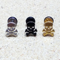 Fashion Men's Small Stainless Steel Earrings Punk Gothic Hollow Skulls Stud Earring