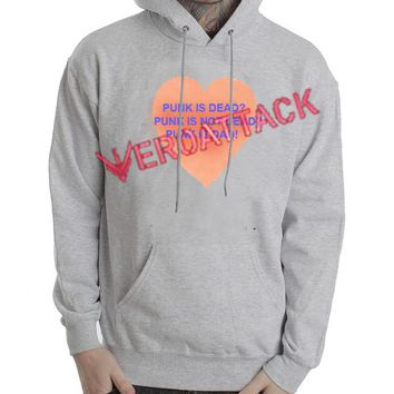 Punk Is Dead Punk is Not Dead Punk Is Dad Grey Color Hoodie