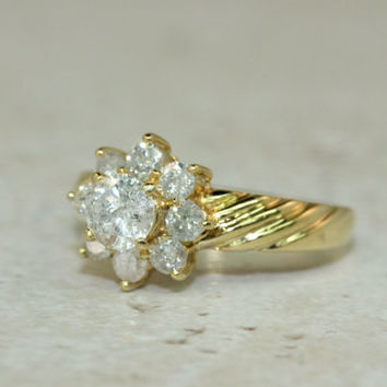 Vintage Engagement Ring Diamond Cluster Ring Snowflake Cluster Ring 18k Yellow Gold Ring Estate Ring Wedding Ring Size 6.25