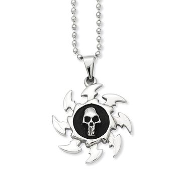Stainless Steel Antiqued Saw Blade w/ Skull Pendant Necklace