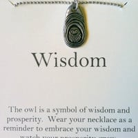 Owl Charm Necklace, Wisdom, Valentine's Day Gift