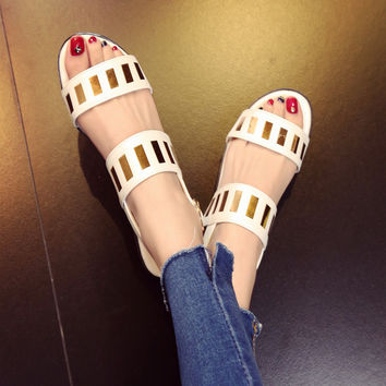 Stylish Design Summer Flat England Style Strong Character Shoes Sandals [4920289028]