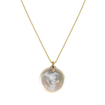 Coin Pearl Necklace with Diamonds