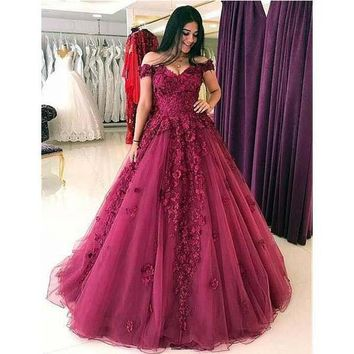 Prom Dresses Burgundy Tulle 3D Flowers Evening Dresses