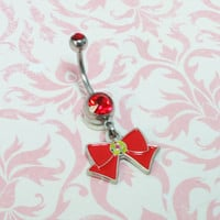 Little Red Bow Belly Ring, navel barbell charm inspired by sailor moon
